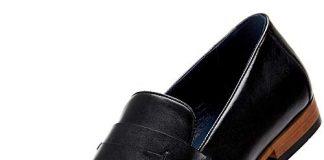 Mens Oxford Loafer Dress Shoes - Black Genuine Leather Bussiness Formal Shoes for Men, Brown Slip on Shoes MS006-BLACK-10.5