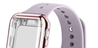 RUOQINI Smartwatch Band with Case Compatiable for Apple Watch Band, Silicone Sport Band and TPU Case for Series 4/3/2/1,Lavender Band with Rose Pink Case in 42ML Size