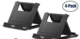 """Cell Phone Stand,4 Pack Tablet Stand,Universal Foldable Multi-angle Pocket Desktop Holder Cradle for Tablets(6-11""""),iPhone X/8/7 Plus/7/6s/6/5/4 SE iPad mini, Nintendo Switch Samsung Galaxy,Black"""