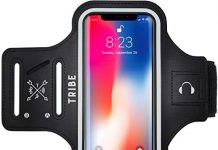 TRIBE Phone Armband, Cell Phone Holder for Running with Key Holder, Fits iPhone Xs MAX/XR/8+/7+/6+ Galaxy S9+/S8+/Note and Similar Sized Large Phones, Black
