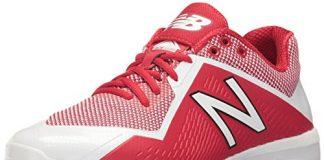 New Balance Men's PL4040v4 Molded Baseball Shoe, Red/White, 11 D US
