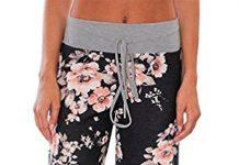 AMiERY Pajamas for Women Women's High Waist Casual Floral Print Drawstring Wide Leg Palazzo Pants Lounge Pajama Pants(Tag 3XL (US 14), Black)