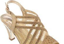 kinmi39 Womens Evening Sandal Rhinestone Gold Dress-Shoes Size 10