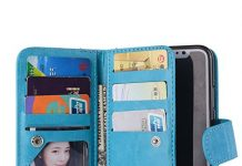 Valentoria Mother's Day Deals Gifts 2019For iPhone Xs Wallet Case, Leather Wallet Case Magnetic Detachable Slim Back Cover Card Holder Slot Wrist Strap Case for iPhone Xs/iPhone X(Turquoise)