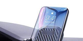 """VANMASS Car Phone Holder, Adjustable Cell Phone Mount, Universal Air Vent Cradle with One Button Release, Sturdy 2 Level Clip, Carbon Fiber Backrest & Protection, Compatible 3.5""""-6.5"""" Phone & Cases"""