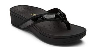 Vionic Women's Pacific High Tide Toepost Sandals – Ladies Mid Heel Flip Flops with Concealed Orthotic Support - Black 8M