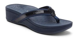 Vionic Women's Pacific High Tide Toepost Sandals - Ladies Mid Heel Flip Flops with Concealed Orthotic Support - Navy Navy 8M