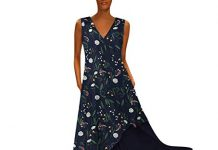 Women Plus Size Vintage Maxi Dress V Neck Splicing Floral Printed Sleeveless Dress