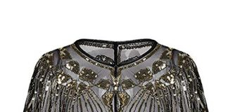 Clearance On Sale Litetao Womens Beaded Sequin Cloak 1920s Shawl Poncho Cape Flapper Cover Up Pullover Evening (Gold)