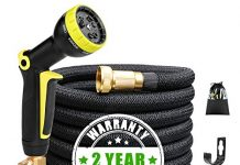 Expandable Garden Hose 50ft Flexible Expanding Water Hose with 3/4 Inch 100% Solid Brass Fittings 9 Function Hose Nozzle, 50' Lightweight Gardening Hose, Outdoor Yard Cloth Hoses (1 Year Guarantee)