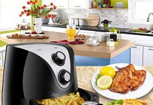 SUPER DEAL Electric Air Fryer XL 3.7 Quart 1500W w/Timer, Temperature Control, Detachable Basket, Fry Healthy with 80% Less Fat