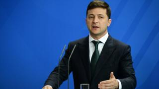 Ukraine's President Volodymyr Zelensky visiting German Chancellor Angela Merkel on 18 June