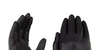 AMMEX Black Nitrile 5 Mil Industrial Disposable Gloves - Textured, Powder-Free, Non-Sterile, Large, Box of 100
