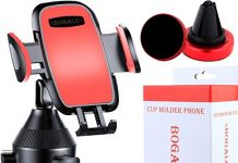 Cup Phone Holder for Car - Goose Neck Smartphone Mount, Phone Air Vent Holder - Stylish Red Color - Compatible with iPhone, Android Phones - Adjustable Base Phone Stand 360 - Degree Rotation BOGALO