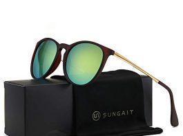 SUNGAIT Vintage Round Sunglasses for Women Classic Retro Designer Style (Brown Frame(Matte Finish)/Yellow-Green Lens) 1567 CKHL