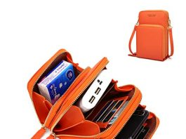 """Small Leather Crossbody Phone Bags for Women with Card Slots, 6.5"""" Cell Phone Purse Wallet Shoulder Bags for Travel by YUNEIK Orange"""