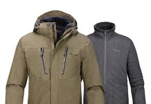 OutdoorMaster Men's 3-in-1 Ski Jacket - Winter Jacket Set with Fleece Liner Jacket & Hooded Waterproof Shell - for Men (Desert,XXL)
