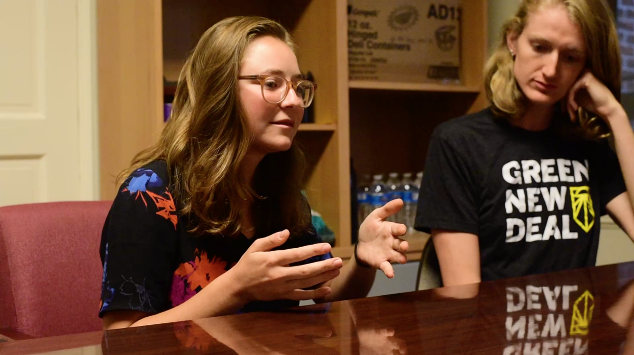 Revelle Mast, left, and Lauren Maunus of Sunrise Movement, a youth-led movement advocating political action on climate change.