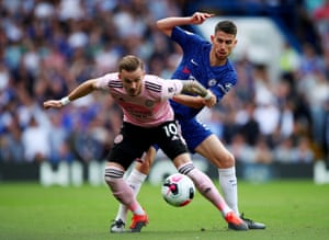 Leicester City's James Maddison in action with Chelsea's Jorginho.