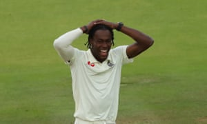 Jofra Archer reacts to catching Steve Smith's edge.