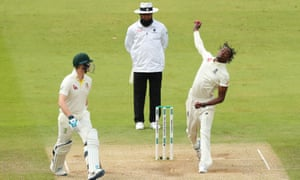 Jofra Archer delivers the ball.