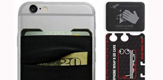 Mobile Phone Double Pocket Wallet Stick on with Stand - Phone Wallet iPhone - Cellphone Accessories case - Phone Card Holder with Stick on - Credit Card Holder for Cell Phone (Black-Gray)