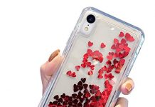 GYZCYQ for iPhone XR Case, New Transparent TPU Mobile Phone Case, Shiny Flowing Red Love Case, Compatible with iPhone XR 6.1 Inches 2018, Red