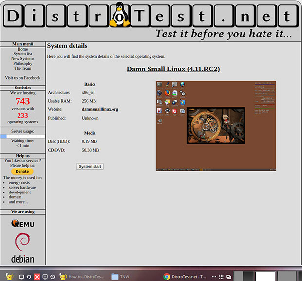 DistroTest.net, distro details page