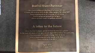 A plaque placed at the former site of Okjokull, a glacier in Iceland declared dead in 2014