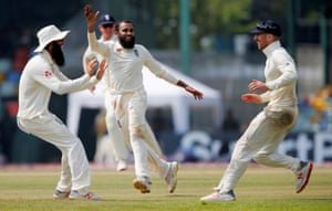 Adil Rashid celebrates after taking the wicket of Kusal Mendis in the Sri Lanka Test series