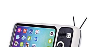 Goshfun PTH800 Retro TV Shape Mobile Phone Holder, Table Cell Phone Accessories, Desktop Mobile Phone Stand for Phones with 4.7-5.5 Inch Screen, Silver Grey