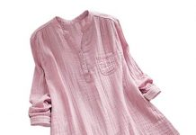 vermers Deals Womens New T Shirts Casual Loose Stand Collar Long Sleeve Tunic Tops Blouse(5XL, Pink)
