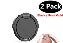 Finger Ring Stand [2 Pack], Borakle 360° Rotary Cell Phone Holder Finger Loop Grip Mount Universal Smartphone Kickstand for iPhone 6/6s Plus, iPhone 7/7 Plus, Samsung Galaxy S8 Black+ Rose Gold
