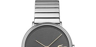 Lacoste Men's Moon Quartz Watch with Stainless-Steel Strap, Silver, 20 (Model: 2010954)