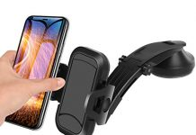 Car Phone Mount, HENKUR Magnetic Car Cell Phone Holder Dashboard Windshield Air Vent, Compatible iPhone X Xs Max XR 8 7 6s Plus, Samsung Galaxy S10 S9 S8 S7 S6 LG Nexus Sony Google GPS (Black)