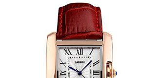 Women Rectangle Watch Waterproof Rose Gold Tone White Dial Wristwatch Roman Numeral with Red Leather Band