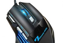 Professional Gaming Mouse Wired,4 DPI Adjustable,Colors LED Backlight,USB Optical Mice for Laptop PC Computer Games & Work (MMR3-Black)