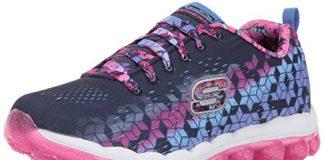 Skechers Kids Girls' Skech-Air-Fade N'Fly Sneaker,Navy/Hot Pink,11.5 M US Little Kid