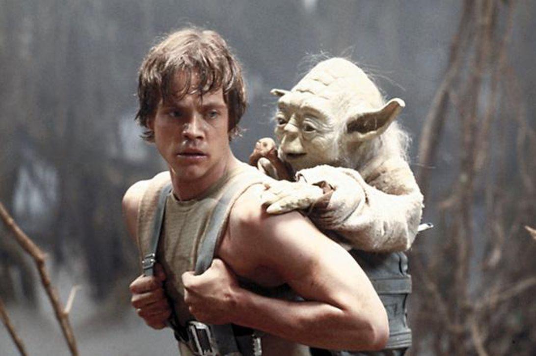 Luke Skywalker gives Yoda a lift.