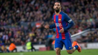Arda Turan playing for Barcelona in February 2017