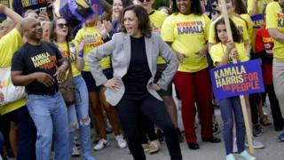 Kamala Harris dances at the Polk County Steak Fry