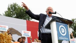 Bernie Sanders addressing the Polk County Steak Fry