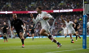 Jonny May scores his first try for England - on his eighth cap - against the All Blacks at Twickenham in November 2014.