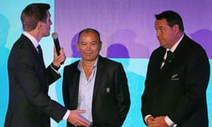 Eddie Jones and Steve Hansen (right) are interviewed at the World Cup draw in Kyoto in 2017.