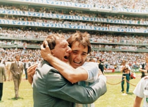 Carlos Bilardo cries with Pedro Pasculli after the 1986 World Cup final.