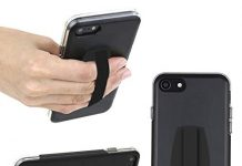 GripKick Universal Cell Phone Grip with Stand, Comfortable Strap Finger Holder, Kickstand, Ultra Slim Pocket Friendly Design
