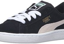 PUMA Boys' Suede PS Sneaker, Black/White, 11.5 M US Little Kid