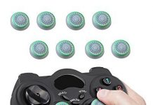 Fosmon [Set of 8] Analog Stick Joystick Controller Performance Thumb Grips for PS4 | PS3 | Xbox ONE, ONE X, ONE S, 360 | Wii U - White & Green (Set of 8)