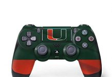 Skinit Decal Gaming Skin for PS4 Pro/Slim Controller - Officially Licensed College Miami Hurricanes Flag Design