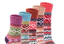 Yannk Women's 5 Pair Pack Vintage Style Cotton Crew Socks (SK32-1-B) Large (6.5~10.5(US) )